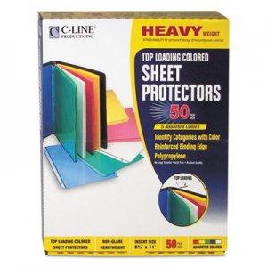 "C-Line Colored Polypropylene Sheet Protector, Assorted Colors, 2"", 11 x 8 1/2, 50/BX CLI62010 62010"