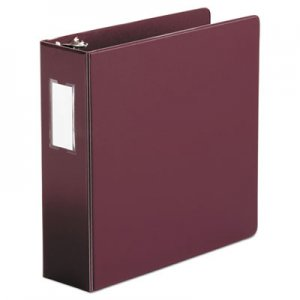 "Genpak Economy Non-View Round Ring Binder, 3 Rings, 3"" Capacity, 11 x 8.5, Burgundy UNV35416"