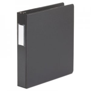 "Genpak Economy Non-View Round Ring Binder With Label Holder, 1-1/2"" Capacity, Black UNV33411"