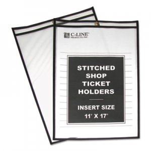 "C-Line Shop Ticket Holders, Stitched, Both Sides Clear, 75"", 11 x 17, 25/Box CLI46117 46117"