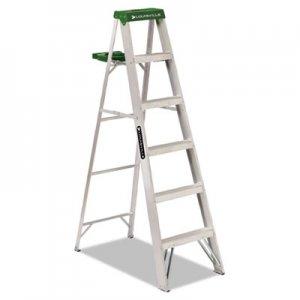 Louisville Aluminum Step Ladder, 6 ft Working Height, 225 lbs Capacity, 5 Step, Aluminum/Green DADAS4006 AS4006