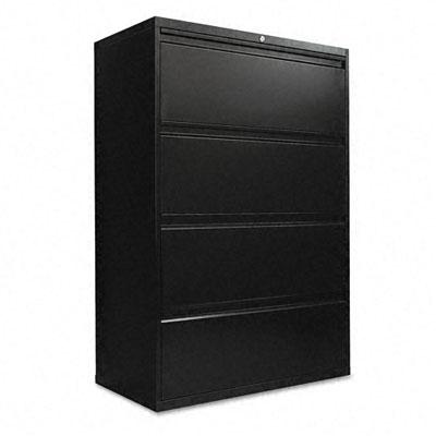 Alera Four-Drawer Lateral File Cabinet, 36w x 19-1/4d x 54h, Black LA54-3654BL ALELA543654BL 543654BL