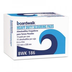 Boardwalk Heavy-Duty Scour Pad, Green, 6 x 9, 15/Carton BWK186 86LGI