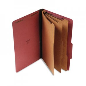 Genpak Four-, Six- and Eight-Section Classification Folders, 3 Dividers, Legal Size, Red, 10/Box UNV10295