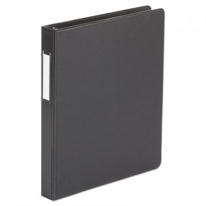 "Genpak Economy Non-View Round Ring Binder With Label Holder, 1"" Capacity, Black UNV31411"