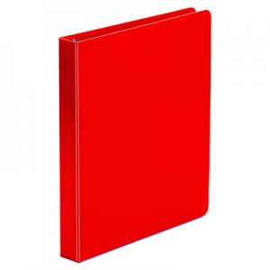 "Genpak Economy Non-View Round Ring Binder, 3 Rings, 1"" Capacity, 11 x 8.5, Red UNV31403"