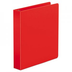 "Genpak Economy Non-View Round Ring Binder, 3 Rings, 1.5"" Capacity, 11 x 8.5, Red UNV33403"