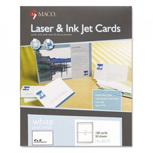 Maco Unruled Microperforated Laser/Ink Jet Index Cards, 4 x 6, White, 100/Box MACML8575 MML-8575