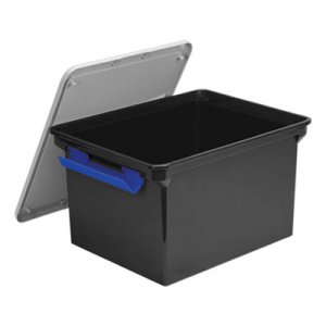 """Storex Portable File Tote with Locking Handles, Letter/Legal Files, 18.5"""" x 14.25"""" x 10.88"""", Black/Silver"""