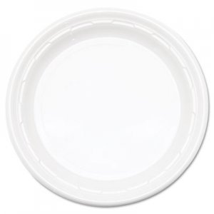 "Dart Famous Service Plastic Impact Dinnerware, Plate, 9"", White, 125/Pack DCC9PWFPK 9PWF"