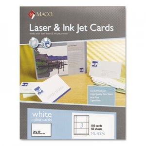Maco Unruled Microperforated Laser/Ink Jet Index Cards, 3 x 5, White, 150/Box MACML8576 MML-8576