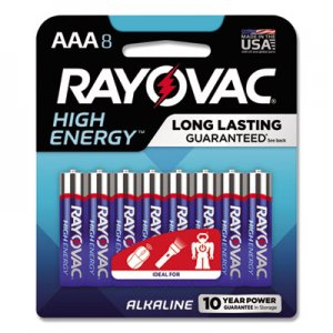 Rayovac High Energy Premium Alkaline Battery, AAA, 8/Pack RAY8248K 8248K