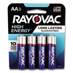 Rayovac High Energy Premium Alkaline Battery, AA, 8/Pack RAY8158K 8158K