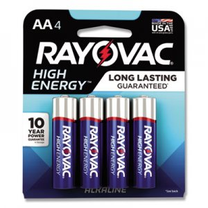 Rayovac High Energy Premium Alkaline Battery, AA, 4/Pack RAY8154K 8154K