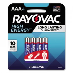 Rayovac High Energy Premium Alkaline Battery, AAA, 4/Pack RAY8244K 8244K