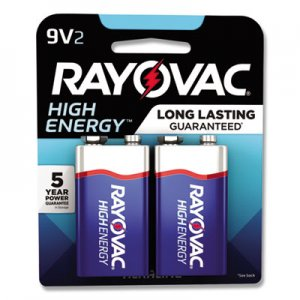 Rayovac High Energy Premium Alkaline Battery, 9V, 2/Pack RAYA16042K A16042K