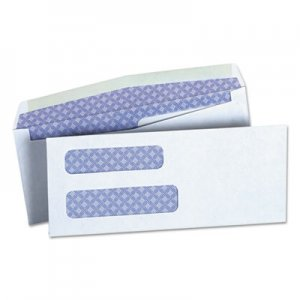 Genpak Double Window Business Envelope, #8 5/8, Cheese Blade Flap, Gummed Closure, 3.63 x 8.63, White, 500