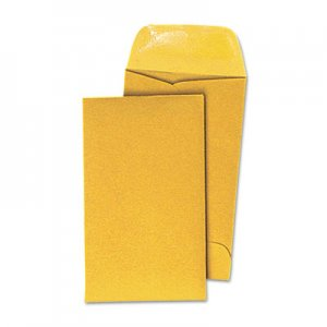 Genpak Kraft Coin Envelope, #3, Round Flap, Gummed Closure, 2.5 x 4.25, Light Brown Kraft, 500/Box UNV35301