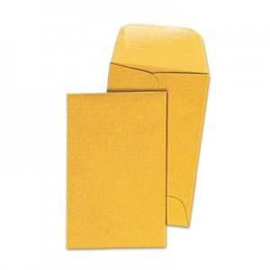Genpak Kraft Coin Envelope, #1, Round Flap, Gummed Closure, 2.25 x 3.5, Light Brown Kraft, 500/Box UNV35300