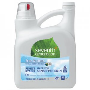 Seventh Generation Natural 2X Concentrate Liquid Laundry Detergent, Free and Clear, 99 loads, 150oz SEV22803 22803