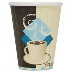 Dart Duo Shield Insulated Paper Hot Cups, 8oz, Tuscan, Chocolate/Blue/Beige, 50/Pk SCCIC8J7534PK IC8-J7534
