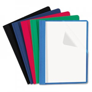 Genpak Clear Front Report Cover, Tang Fasteners, Letter Size, Assorted Colors, 25/Box UNV57119