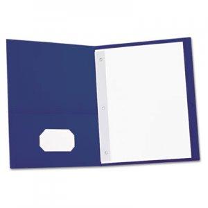 Genpak Two-Pocket Portfolios w/Tang Fasteners, 11 x 8-1/2, Dark Blue, 25/Box UNV57116