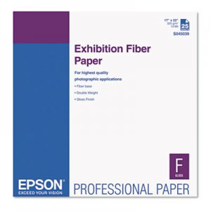 Epson Exhibition Fiber Paper, 17 x 22, White, 25 Sheets EPSS045039 S045039
