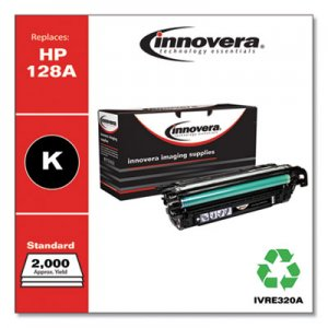 Innovera Remanufactured Black Toner, Replacement for HP 128A (CE320A), 2,000 Page-Yield IVRE320A