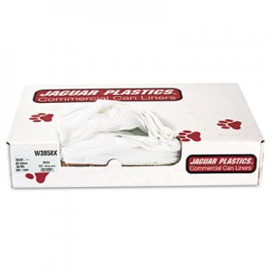 "Jaguar Plastics Industrial Strength Low-Density Commercial Can Liners, 60 gal, 0.9 mil, 38"" x 58"", White, 100/Carton"