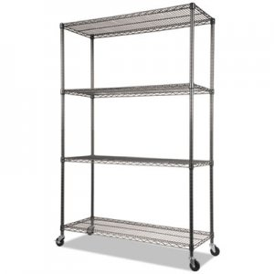Alera NSF Certified 4-Shelf Wire Shelving Kit with Casters, 48w x 18d x 72h, Black Anthracite ALESW604818BA