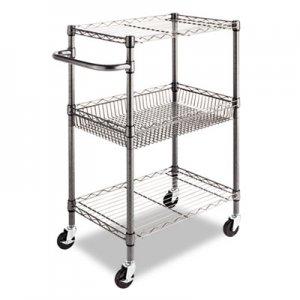 Alera Three-Tier Wire Rolling Cart, 28w x 16d x 39h, Black Anthracite ALESW342416BA