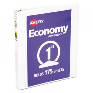 "Avery Economy View Binder with Round Rings , 3 Rings, 1"" Capacity, 11 x 8.5, White AVE05711 05711"
