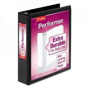 "Cardinal Performer ClearVue Slant-D Ring Binder, 3 Rings, 1.5"" Capacity, 11 x 8.5, Black CRD17401 17401CB"