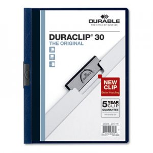 Durable Vinyl DuraClip Report Cover w/Clip, Letter, Holds 30 Pages, Clear/Navy, 25/Box DBL220328 220328