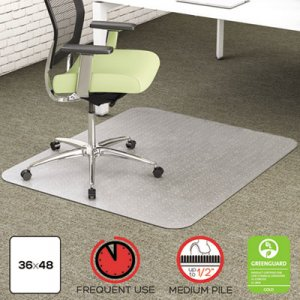deflecto EnvironMat Recycled Anytime Use Chair Mat for Med Pile Carpet, 36 x 48, Clear DEFCM1K142PET CM1K142PET