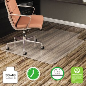 deflecto EconoMat All Day Use Chair Mat for Hard Floors, 36 x 48, Lipped, Clear DEFCM21112 CM21112