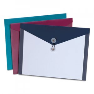 Pendaflex Poly Booklet Envelope, Side Opening, 12 1/2 x 9 1/4, 3 Colors, 4/Pack PFX90016 90016