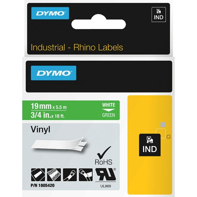 Dymo White on Green Color Coded Label 1805420