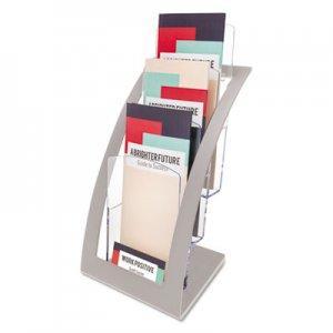 deflecto 3-Tier Literature Holder, Leaflet Size, 6 3/4 x 6 15/16 x 13 4/16, Silver DEF693645