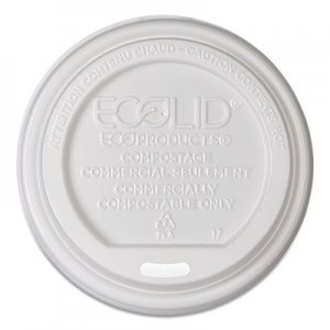 Eco-Products EcoLid Renewable/Compostable Hot Cup Lids, PLA Fits 8 oz Hot Cups, 50/Packs, 16 Packs/Carton ECOEPECOLID8