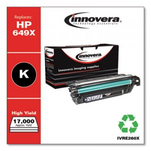 Innovera Remanufactured Black High-Yield Toner, Replacement for HP 649X (CE260X), 17,000 Page-Yield IVRE260X