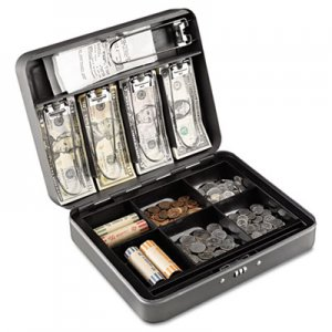 SteelMaster Cash Box w/Combination Lock, Charcoal MMF2216190G2 2216190G2