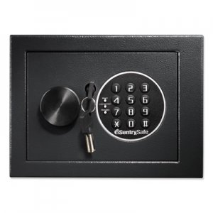 Sentry Safe Electronic Lock/Card Swipe Security Safe, 0.4 ft3, 15w x 11d x 7h, Black SENH060ES H060ES