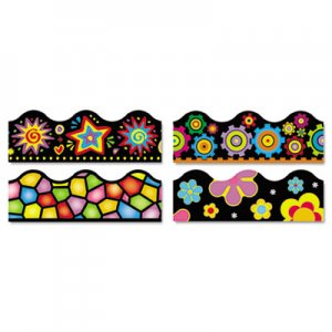"""TREND Terrific Trimmers Border, 2 1/4 x 39"""", Bright On Black, Assorted, 48/Set TEPT92919 T92919"""