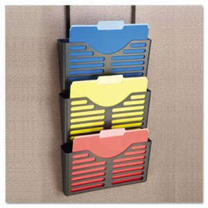 Universal Recycled Plastic Cubicle Triple File Pocket, Black UNV08163