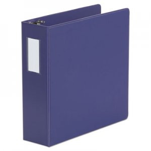 "Genpak Deluxe Non-View D-Ring Binder with Label Holder, 3 Rings, 3"" Capacity, 11 x 8.5, Navy Blue"
