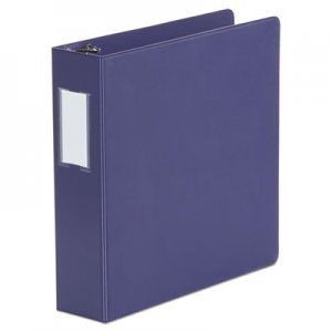 "Genpak Deluxe Non-View D-Ring Binder with Label Holder, 3 Rings, 2"" Capacity, 11 x 8.5, Navy Blue"