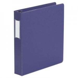 "Genpak Deluxe Non-View D-Ring Binder with Label Holder, 3 Rings, 1.5"" Capacity, 11 x 8.5, Navy"