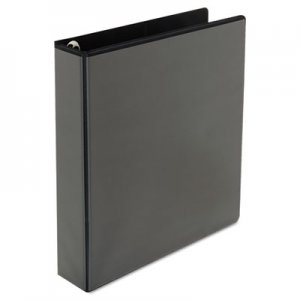 "Genpak Comfort Grip Round Ring View Binder, 1-1/2"" Capacity, 8-1/2 x 11, Black UNV30759"